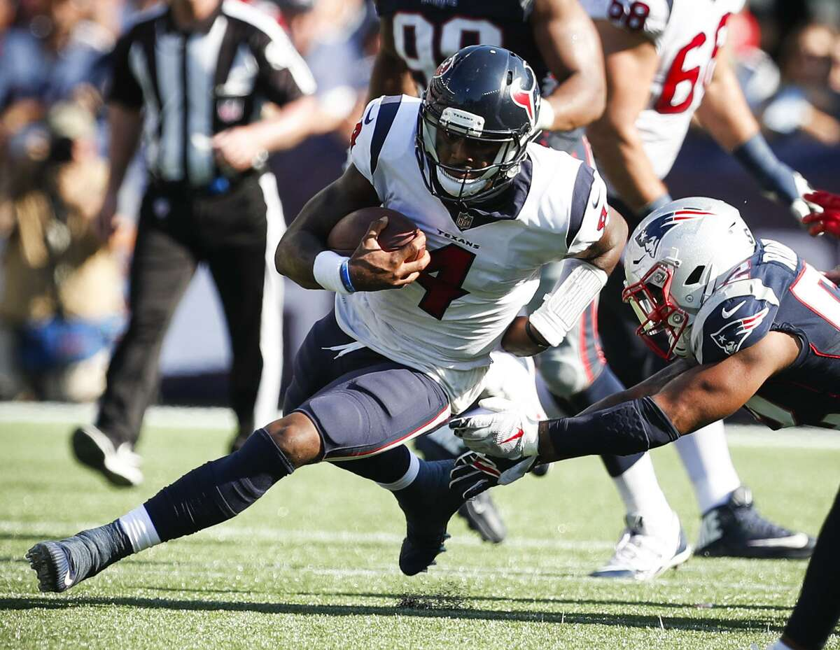 PHOTOS: Contract situation for each Texans player Houston Texans quarterback Deshaun Watson (4) runs for a first down past ]New England Patriots outside linebacker Elandon Roberts (52) during the fourth quarter of an NFL football game at Gillette Stadium on Sunday, Sept. 24, 2017, in Foxbourough, Mass. ( Brett Coomer / Houston Chronicle ) >>>Seethe salaries and contract situations for each Texans player ...