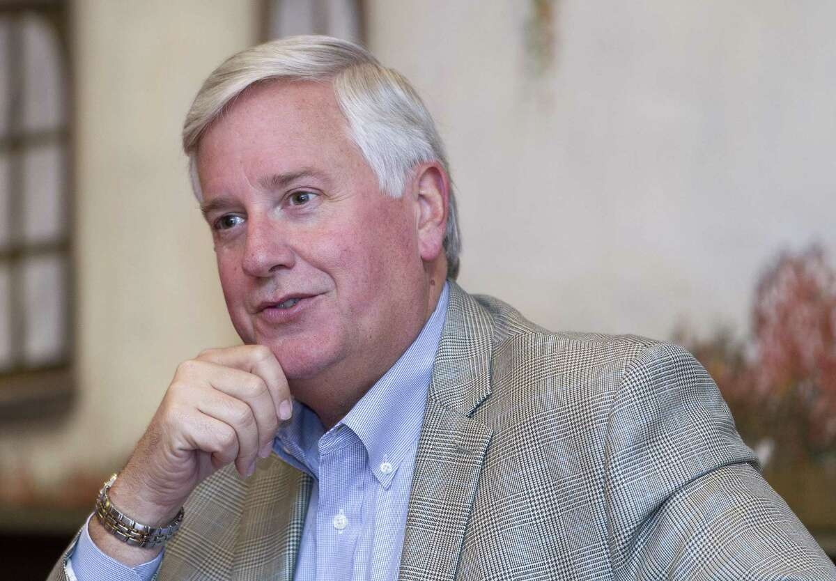 Mike Collier, Democratic candidate for Lt. Governor, speaks about his plans for school finance reform and property taxes at El Bosque Mexican Grill, Tuesday, Oct. 3, 2017, in Shenandoah. Collier challenges incumbent Republican Dan Patrick in the 2018 election.