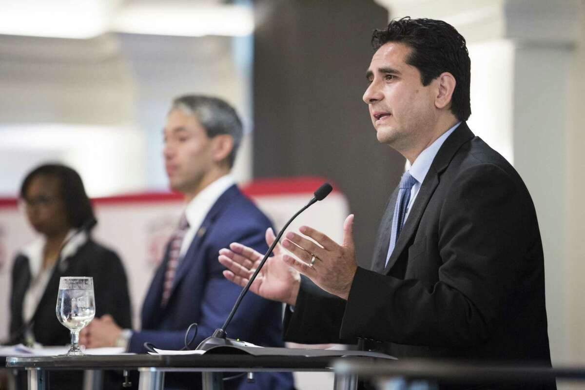 Bexar County Democratic Chairman Manuel Medina, right, speaks onstage alongside, San Antonio Mayor Ivy Taylor, left, and City Councilman Ron Nirenberg, center, during a mayoral debate sponsored by the San Antonio Manufacturers Association at the San Antonio Country Club on Wednesday, April 12, 2017. San Antonio mayoral candidates for the 2017 election, Mayor Ivy Taylor, Councilman Ron Nirenberg, and Bexar County Democratic Chair Manuel Medina participated in the debate over issues affecting San Antonio's manufacturing industry.