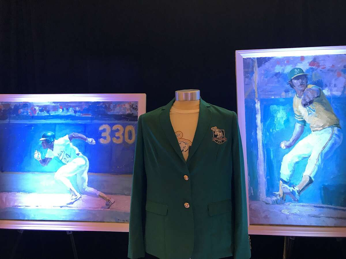 The A's unveiled portraits of their inaugural Hall of Fame members Wednesday.