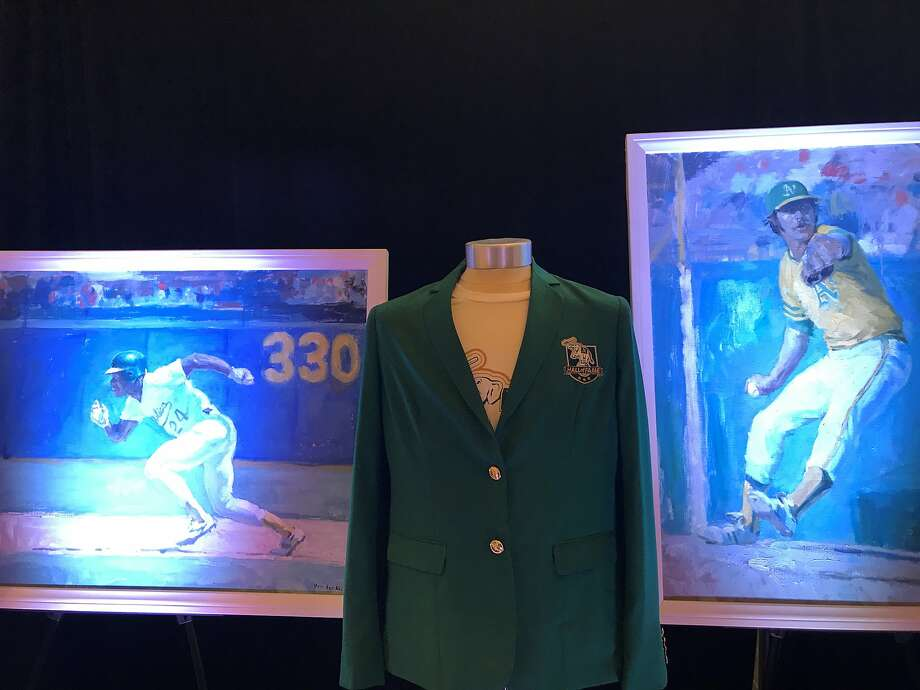 The A's unveiled portraits of their inaugural Hall of Fame members Wednesday. Photo: Susan Slusser/The Chronicle