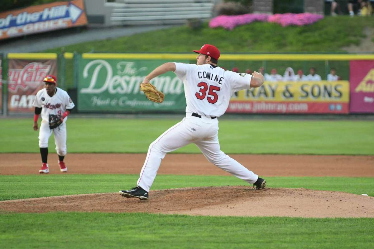 ValleyCats starter Brett Conine delivers during the first inning of a New York-Penn League playoff game at Joe Bruno Stadium in Troy, New York on Sept. 5, 2018.