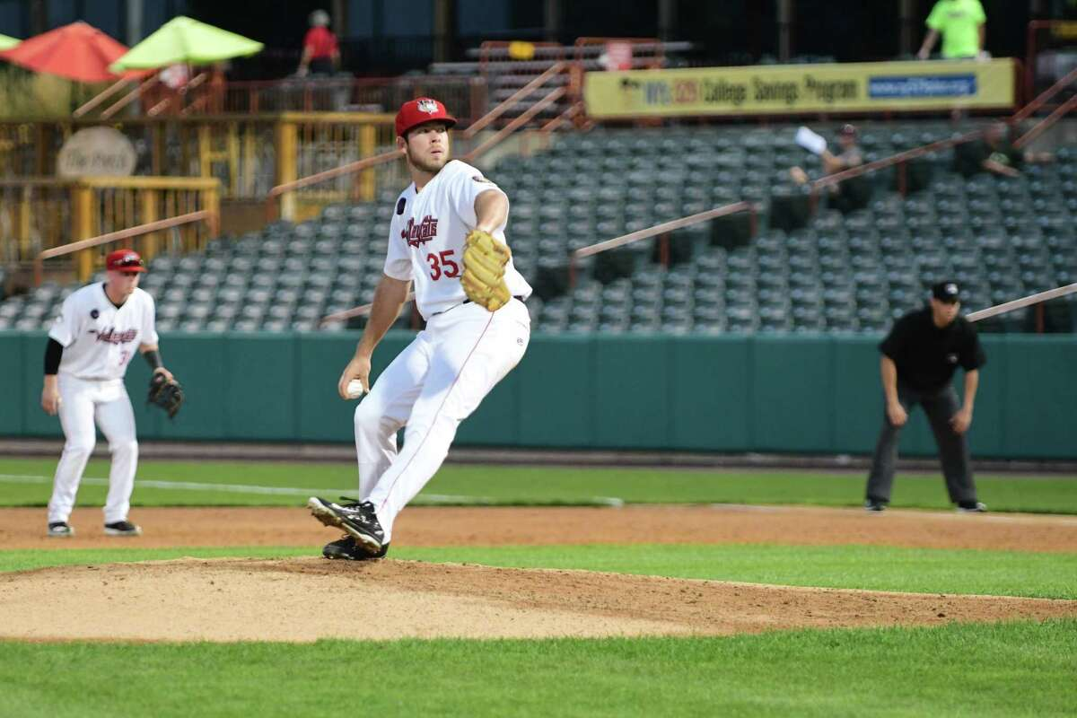ValleyCats starter Brett Conine delivers a pitch in the top of the third inning of a New York-Penn League playoff game against the Mahoning Valley Scrappers at Joe Bruno Stadium in Troy, N.Y. on Sept. 5, 2018.