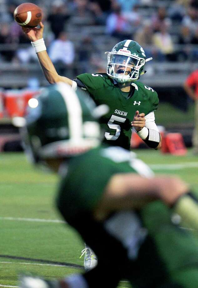 Shenendehowa QB #5 Brendan Belott finds receiver Brendan Disonell during their home opener against Guilderland Friday August 31, 2018 in Clifton Park, NY. (John Carl D'Annibale/Times Union) Photo: John Carl D'Annibale / 20044685A