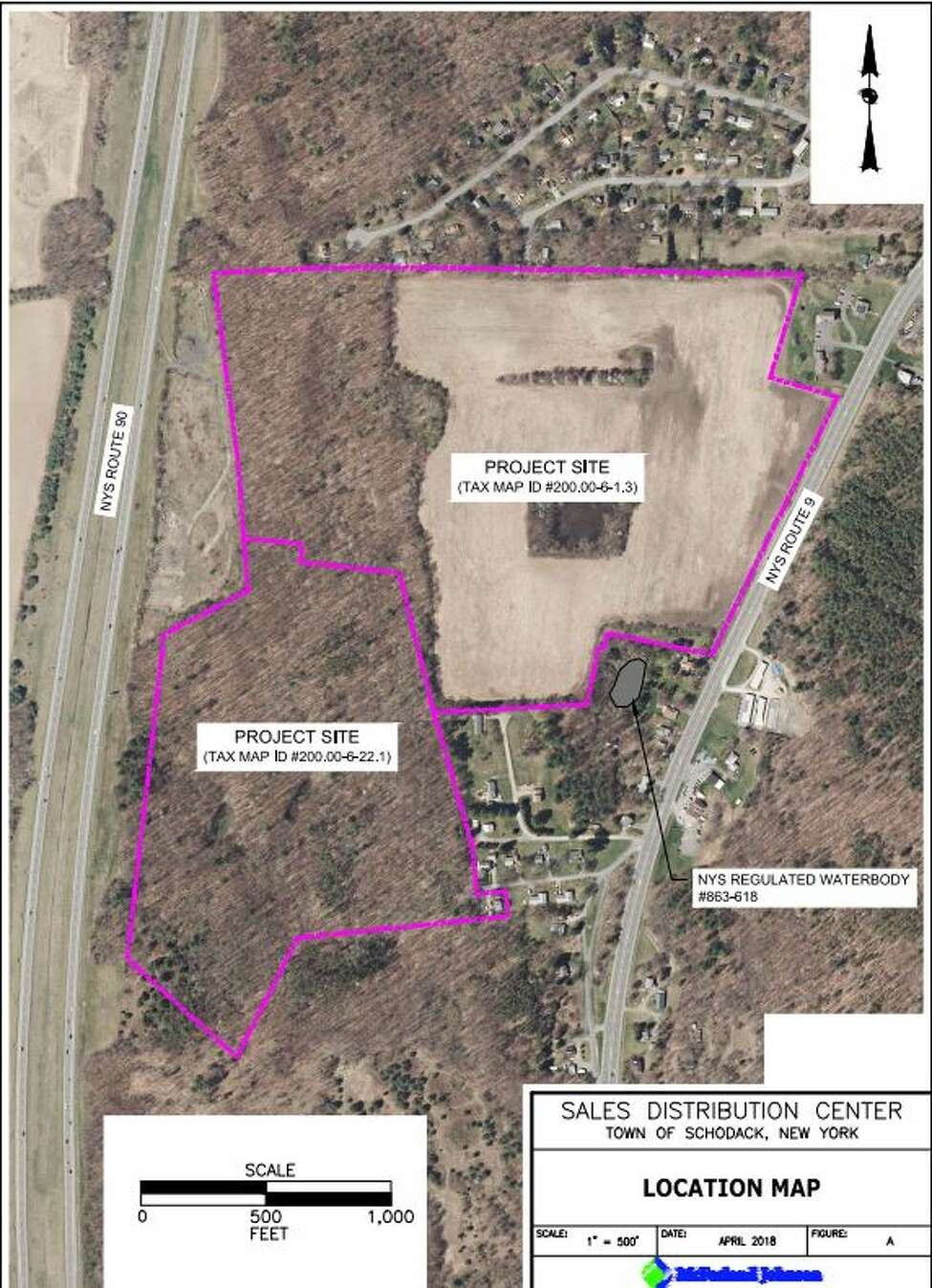 The proposed Amazon site is between Route 9 and I-90 in Scodack. The Birchwood Estates neighborhood is at the top of the proposed site.
