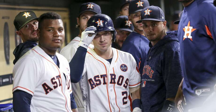 Houston Astros shortstop Alex Bregman (2) celebrates with a dugout stare down after hitting a two-run home run during the third inning as the Houston Astros take on the Minnesota Twins at Minute Maid Park Wednesday Sept. 5, 2018 in Houston. Photo: Michael Ciaglo/Staff Photographer