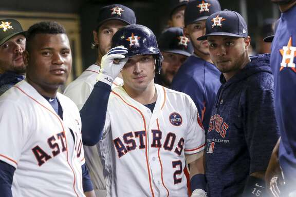Houston Astros shortstop Alex Bregman (2) celebrates with a dugout stare down after hitting a two-run home run during the third inning as the Houston Astros take on the Minnesota Twins at Minute Maid Park Wednesday Sept. 5, 2018 in Houston.