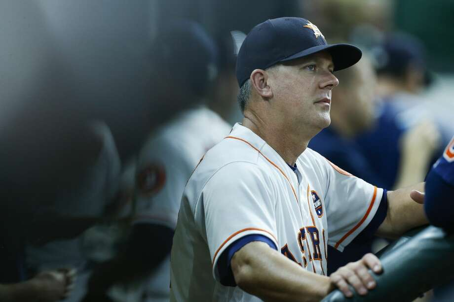 Houston Astros manager AJ Hinch (14) talks to a player in the dugout during the sixth inning as the Houston Astros take on the Minnesota Twins at Minute Maid Park Wednesday Sept. 5, 2018 in Houston. Photo: Michael Ciaglo/Staff Photographer