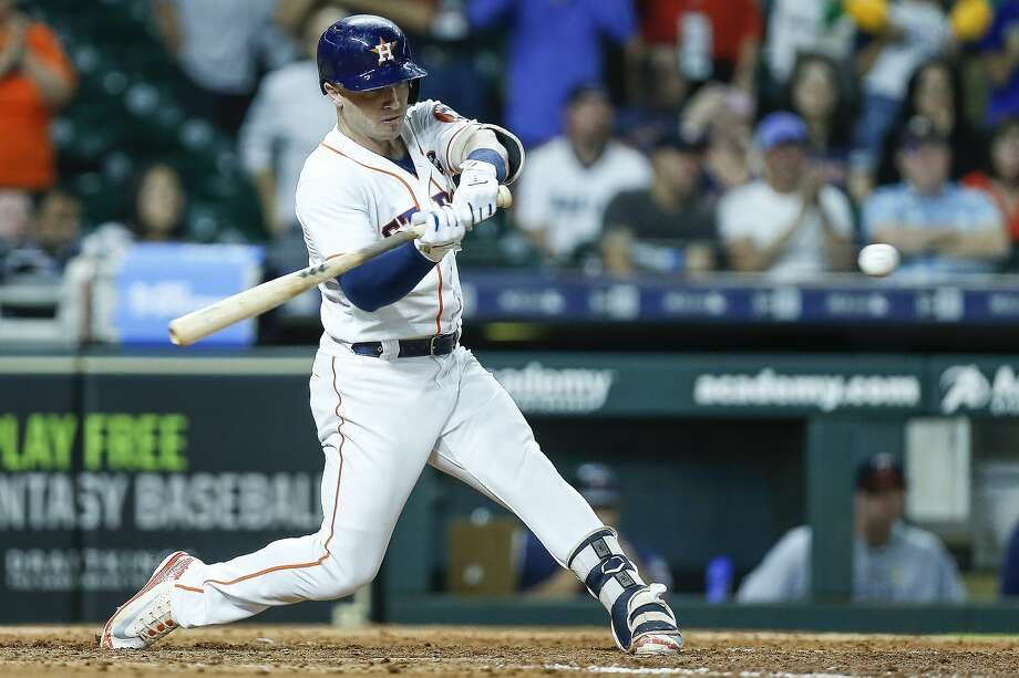 Houston Astros shortstop Alex Bregman (2) hits a three-run RBI double during the eighth inning as the Houston Astros take on the Minnesota Twins at Minute Maid Park Wednesday Sept. 5, 2018 in Houston. Photo: Michael Ciaglo, Staff Photographer