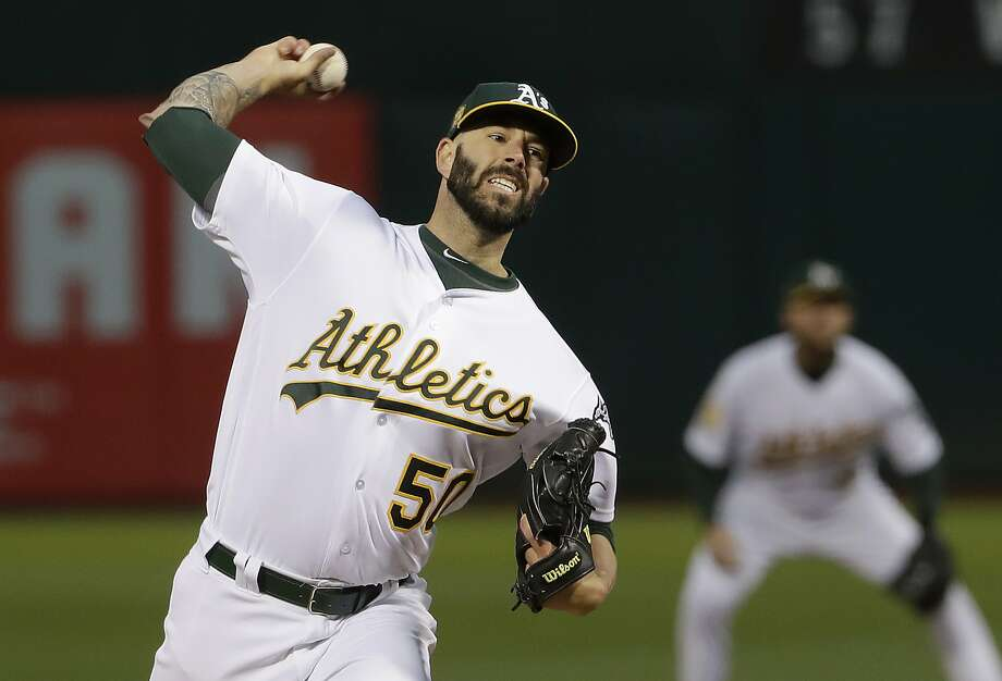 Oakland Athletics pitcher Mike Fiers throws to a New York Yankees batter during the first inning of a baseball game in Oakland, Calif., Wednesday, Sept. 5, 2018. (AP Photo/Jeff Chiu) Photo: Jeff Chiu / Associated Press