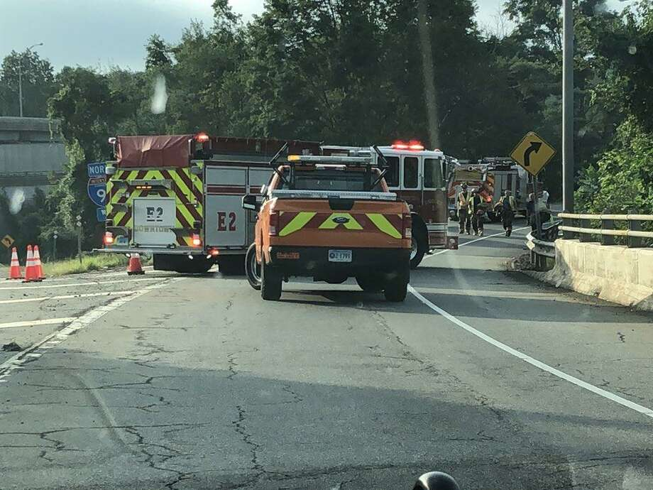 The Exit 13 on ramps on I-91 in Wallingford are closed because of a rollover truck accident on Thursday, Sept. 6, 2018. Photo: State Police Photo