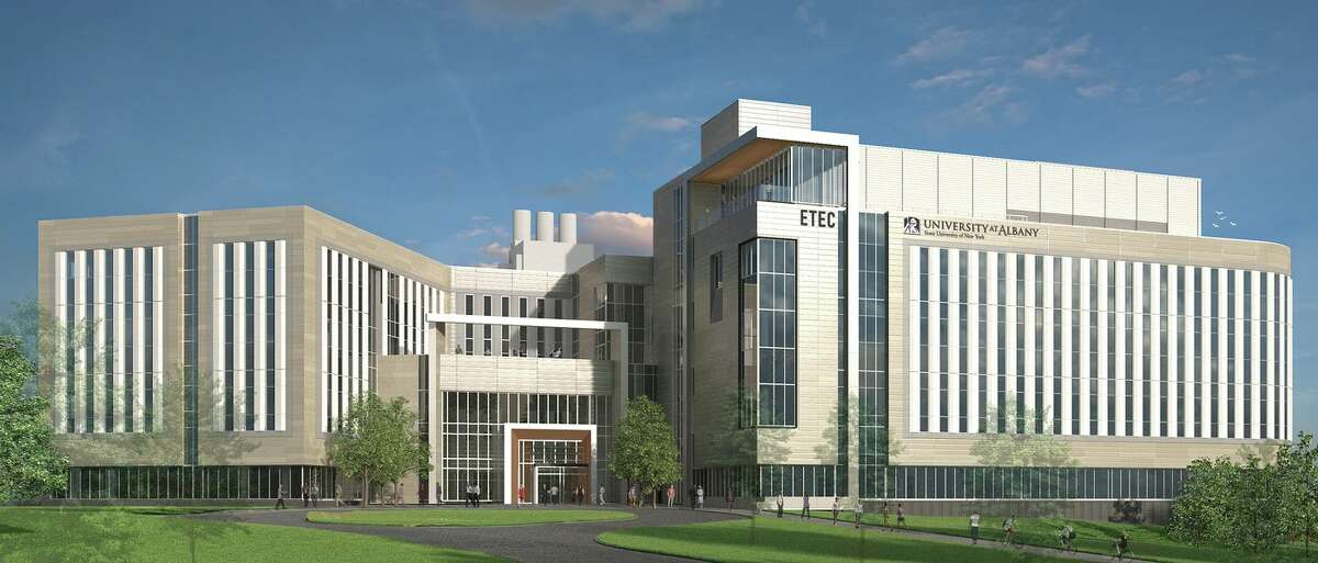 UAlbany's ETEC building, a $180 million project being built by Consigli Construction. Consigli and another form, Walsh Group of Chicago, are interested in building the $750 million Wadsworth Center.