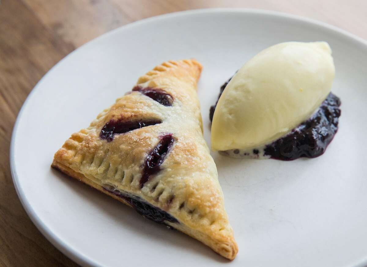 Blueberry pie served with a scoop of vanilla ice cream photographed at Pearl in the Richmond district of San Francisco, Calif. Tuesday, Sept. 4, 2018.