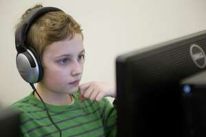 Hart Magnet School student Ryan Basile takes a practice SBAC test in 2015.