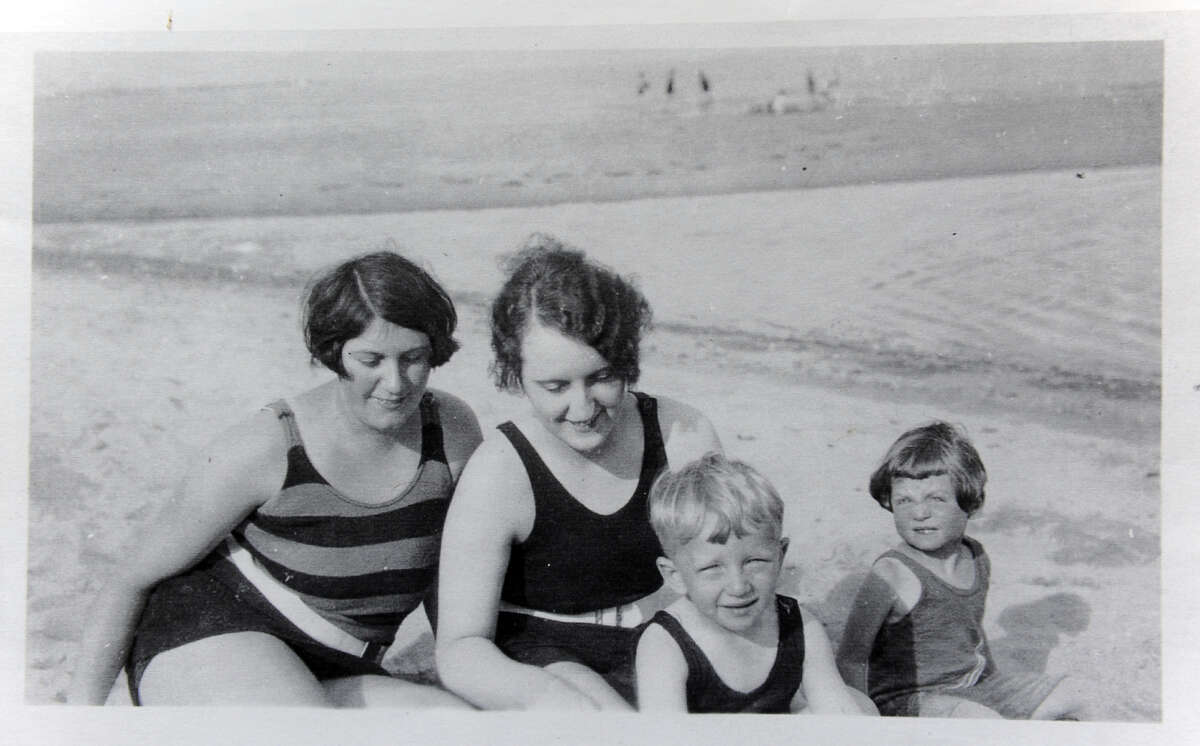 A young Bill Lee, seen here at the beach in the 1920's with family and friends in this old photograph from his archive.