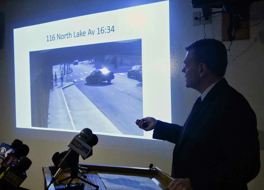 Albany Police Commander Michael Basile leads a press conference where a video is played on Thursday, Sept. 6, 2018, at the Albany Public Safety Building in Albany, N.Y. The video shows an Albany Police Detective vehicle pulling across the street towards Ellazar Williams and two other individuals. Williams was later shot by an Albany Police Detective. (Paul Buckowski/Times Union)