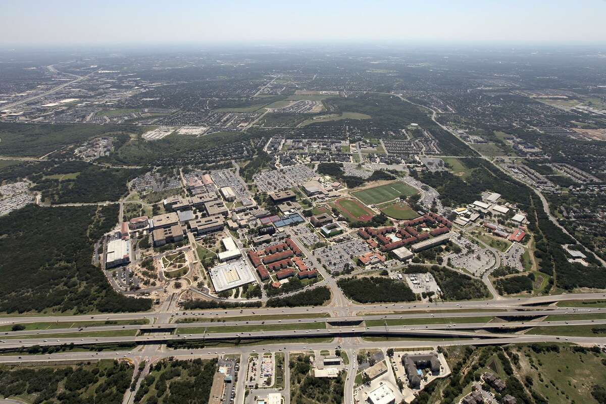 The University of Texas at San Antonio's main campus from the air in 2012.