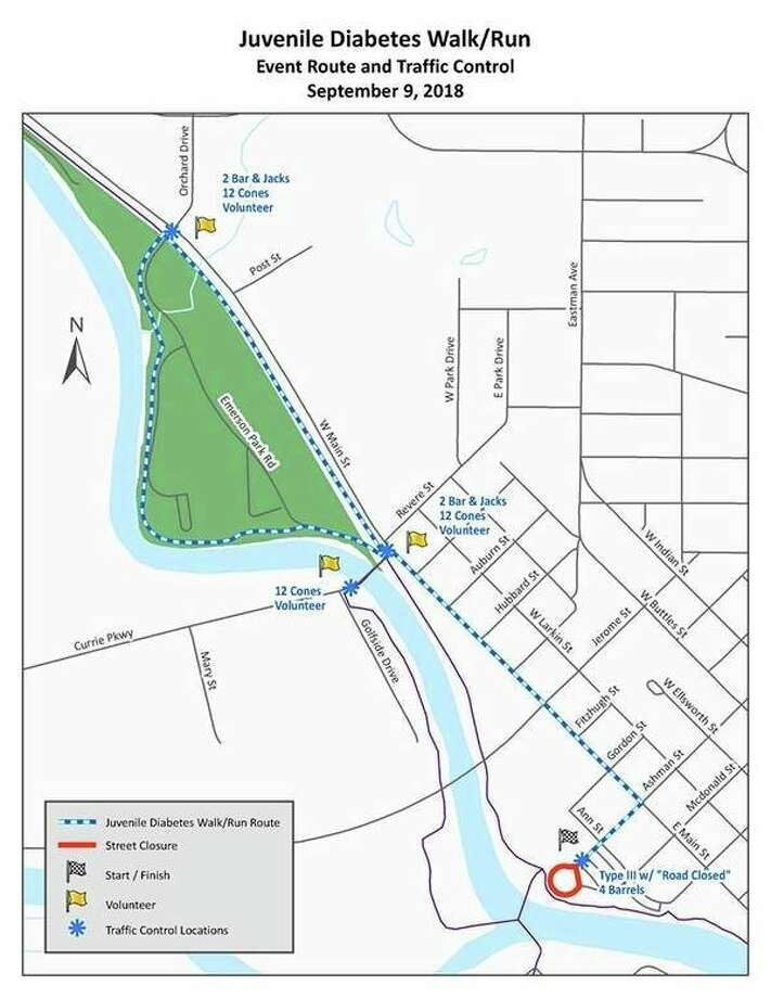 The Juvenile Diabetes Walk/Run Sunday, Sept. 9 will cause some road closures.