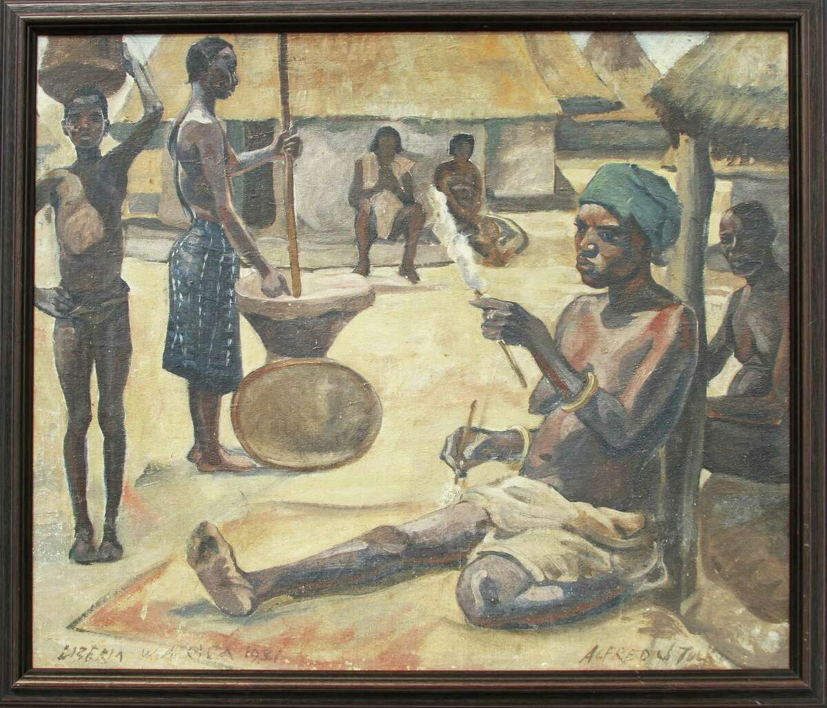 During his time in Liberia in West Africa during the early 1930s, Alfred J. Tulk, documented what he was experiencing through his art.