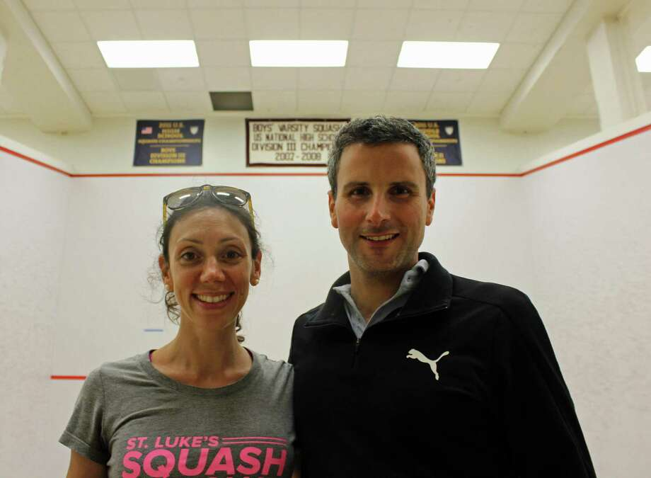 Lucia Cantarini and Brian Mathias, coaches of St. Luke's Squash Club. Photo: Humberto J. Rocha / Hearst Connecticut Media / New Canaan News