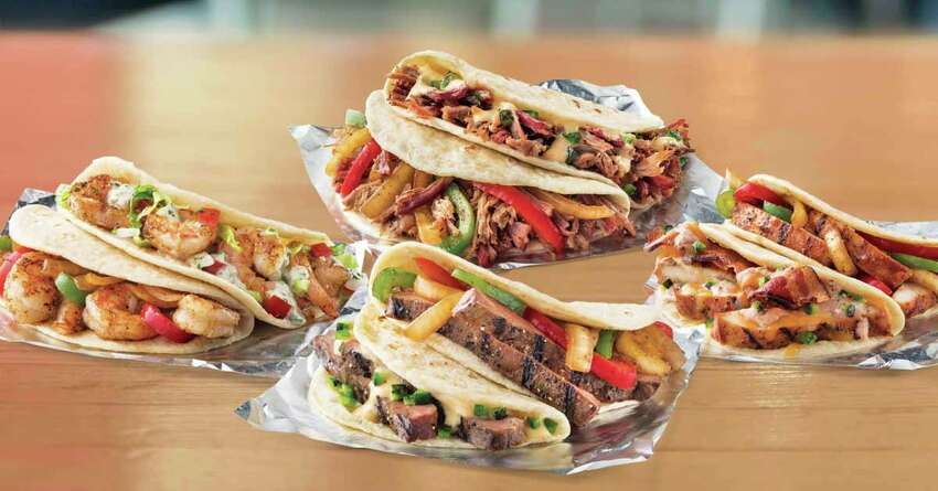 Taco Cabana Customers will receive a free shredded chicken (top center) or ground beef taco from 3 p.m. to midnight. Guests must show coupon code, which will be posted on the restaurant's social media channels on Thursday, to the cashier.