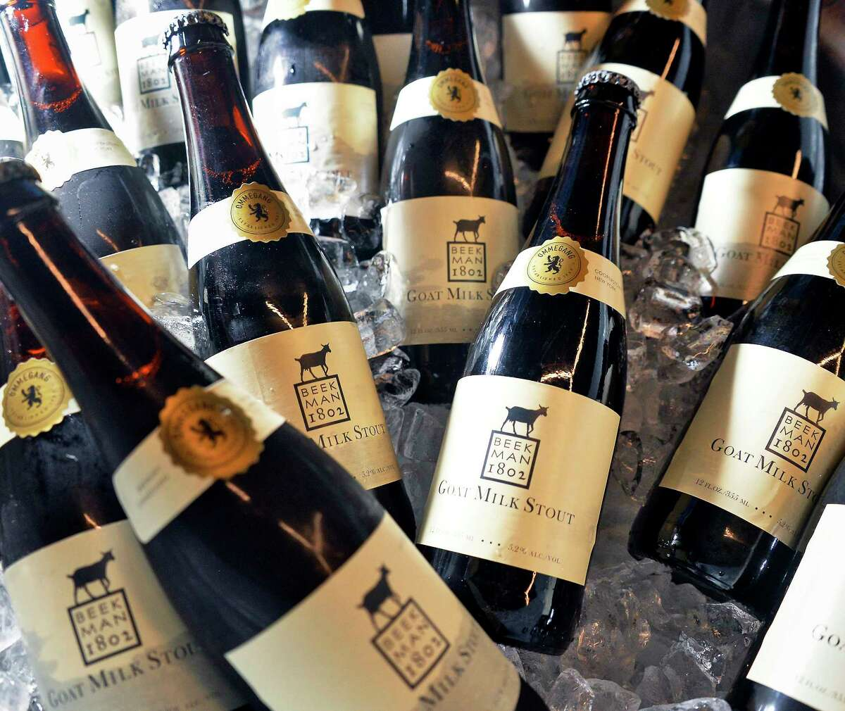 Beekman 1802 and Brewery Ommegang's collaboration limited edition Goat Milk Stout Beer Wednesday Sept. 5, 2018 in Schenectady, NY. (John Carl D'Annibale/Times Union)