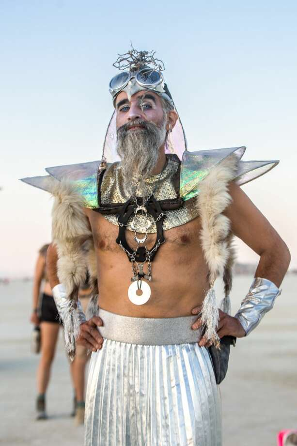 Participants at Burning Man 2018 show off their Black Rock City style. Photo: Sidney Erthal / Burning Man