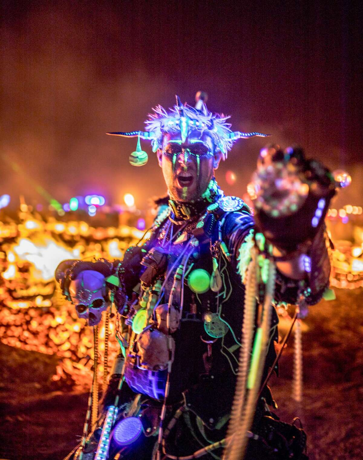 A participant at Burning Man 2018. Decompression at Black Top City in SF will be in October 2018.