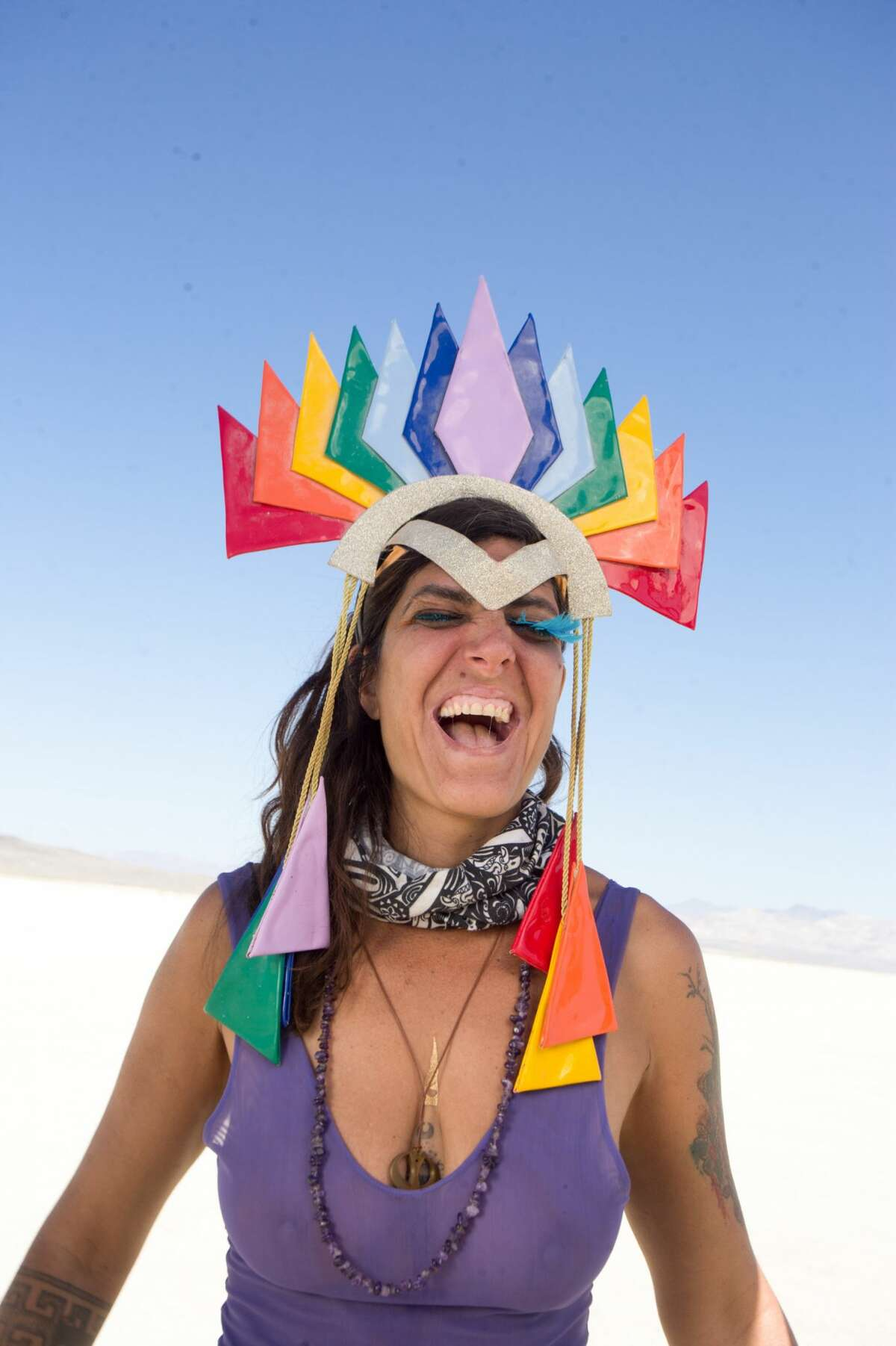 Romina Linderman, a Brazilian social entreprenuer, at Burning Man 2018.
