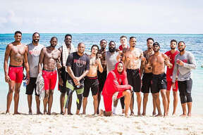 The Houston Rockets players organized a trip to The Bahamas to work out together this week. They are, from left: Bruno Caboclo, Nene, James Ennis, Clint Capela, P.J. Tucker, Rob Gray, Gary Clark, James Harden, Carmelo Anthony, Isaiah Hartenstein, Gerald Green, Vincent Edwards, Chris Paul, Michael Carter-Williams and Eric Gordon.