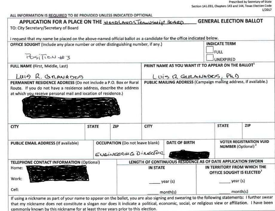 This is the candidacy form Luis Granados submitted to The Woodlands Township as part of his application to run for a seat on the township Board of Directors. The two boxes in the lower right side of the form where state and township residency lengths were left blank, an error that caused Granados to be removed from the Nov. 6 ballot. Granados personal information was redacted by The Villager staff due to privacy concerns. Photo: Document Courtesy/The Woodlands Township / Document Courtesy/The Woodlands Township