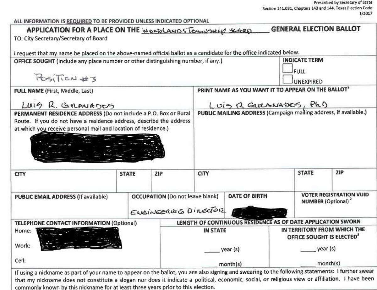 This is the candidacy form Luis Granados submitted in 2018 to The Woodlands Township as part of his application to run for a seat on the township Board of Directors. The two boxes in the lower right side of the form where state and township residency lengths were left blank, an error that caused Granados to be removed from the Nov. 6, 2018, ballot. Granados personal information was redacted by The Villager staff due to privacy concerns.