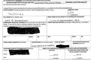 This is the candidacy form Luis Granados submitted to The Woodlands Township as part of his application to run for a seat on the township Board of Directors. The two boxes in the lower right side of the form where state and township residency lengths were left blank, an error that caused Granados to be removed from the Nov. 6 ballot. Granados personal information was redacted by The Villager staff due to privacy concerns.