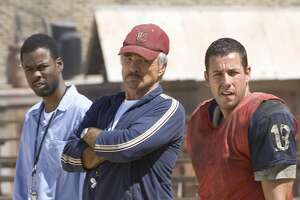 "(L-R) Chris Rock, Burt Reynolds and Adam Sandler in a scene from ""The Longest Yard."""