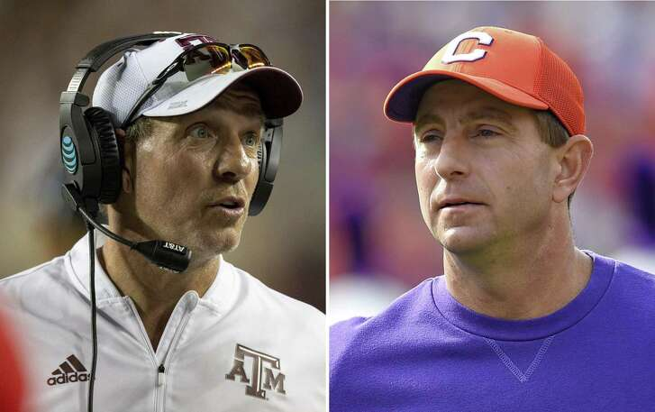 FILE - At left, in an Aug. 30, 2018, file photo, Texas A&M head coach Jimbo Fisher is shown during the second half of an NCAA college football against Northwestern State in College Station, Texas. At right, in a Nov. 18, 2017, file photo, Clemson head coach Dabo Swinney watches before the start of an NCAA college football game against Citadel in Clemson, S.C. Clemson's visit to Texas A&M is the marquee matchup of the second week of the Atlantic Coast Conference football season. (AP Photo/File)