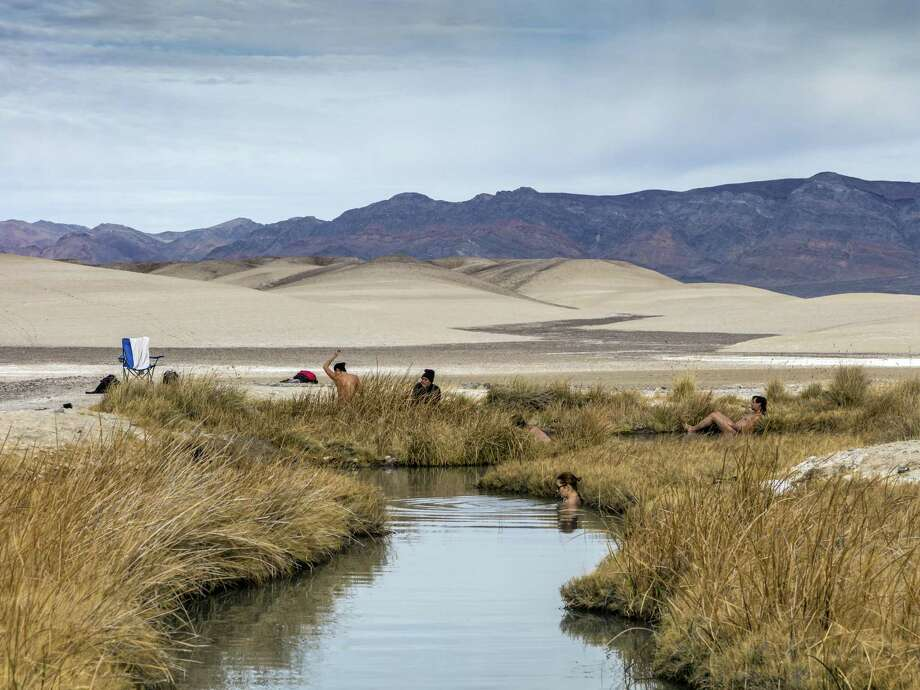 Bathers at Tecopa Natural Hot Springs in Tecopa, California. Photo: Courtesy Of Kim Stringfellow