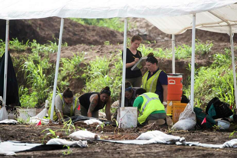 95 remains were discovered at a historical burial site, where construction continues on the James Reese Career and Technical Center in Sugar Land on Monday, July 16, 2018.  (Marie D. De Jesús / Houston Chronicle ) Photo: Marie D. De Jesús,  Staff / Houston Chronicle / © 2018 Houston Chronicle