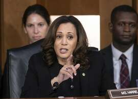 Sen. Kamala Harris, D-Calif., questions Supreme Court nominee Brett Kavanaugh as he testifies before the Senate Judiciary Committee on the third day of his confirmation hearing, on Capitol Hill in Washington, Thursday, Sept. 6, 2018. (AP Photo/J. Scott Applewhite)