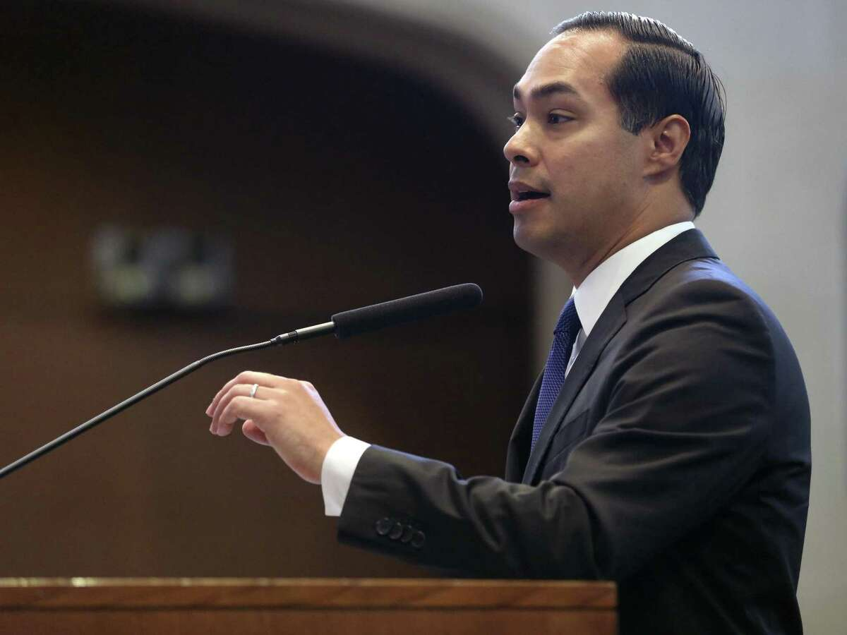 Former San Antonio mayor and former U.S. Housing and Urban Development Secretary Julián Castro speaks to San Antonio City Council on Thursday to voice his support for the Mayor's Housing Policy Task Force's recommendations.