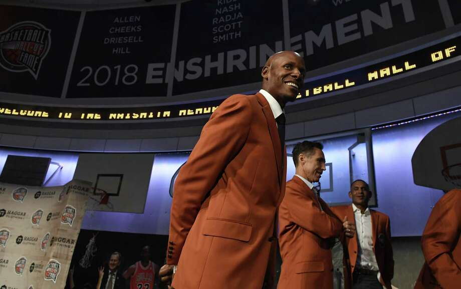 UConn great Ray Allen, a class of 2018 inductee into the Basketball Hall of Fame, smiles as he walks off stage at the end of a news conference at the Naismith Memorial Basketball Hall of Fame Thursday. (AP Photo/Jessica Hill) Photo: Jessica Hill / Associated Press / Copyright 2018 The Associated Press. All rights reserved.