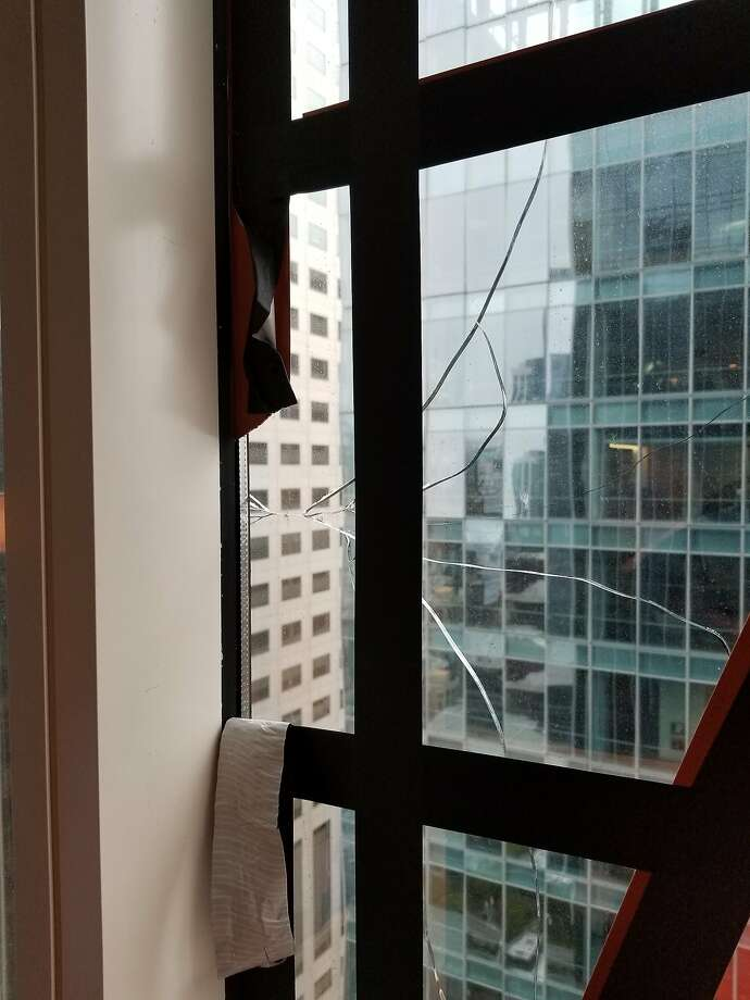 Cracked glass in the Millennium Tower. Photo: San Francisco Department Of Building Inspection