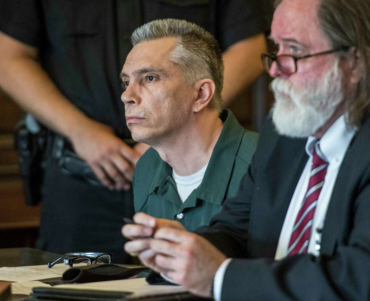 Richard J. Wright sits with his attorney Michael McDermott during his sentencing procedure in front of Judge Andrew Ceresia Thursday Sept. 6, 2018 at the Rensselaer County Courthouse in Troy, N.Y. (Skip Dickstein/Times Union)