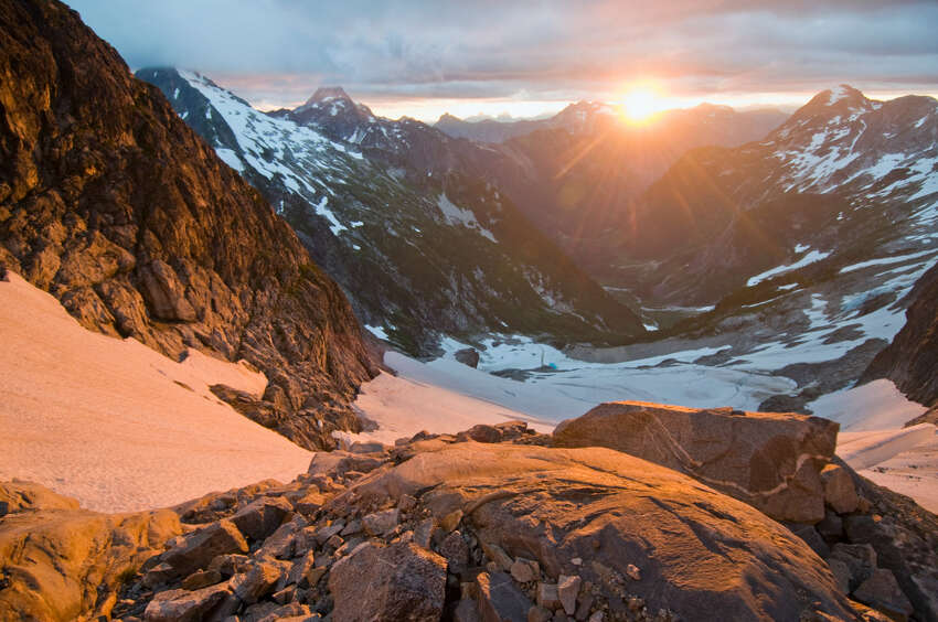 The watery sunrises anywhere in the North Cascades are things of awe.