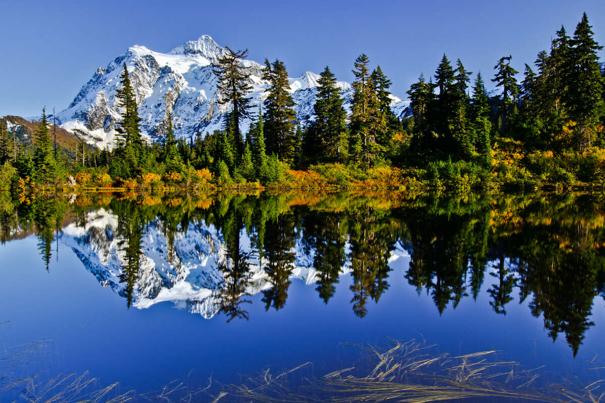 The reflection of Mt. Shuksan in Highwood Lake looks almost as breathtaking as the actual thing. Almost.