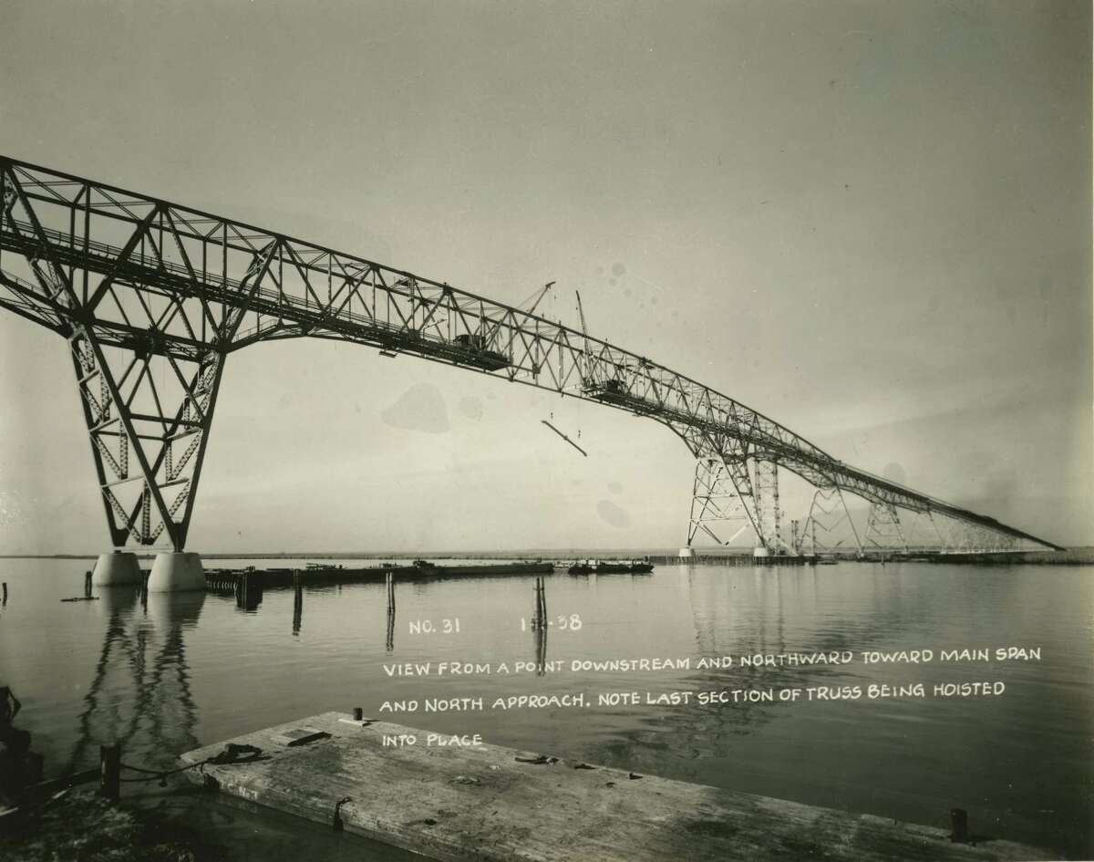 Construction of the Rainbow Bridge across the Rainbow Bridge connecting Bridge City and Port Arthur. Photo from Texas Department of Transportation