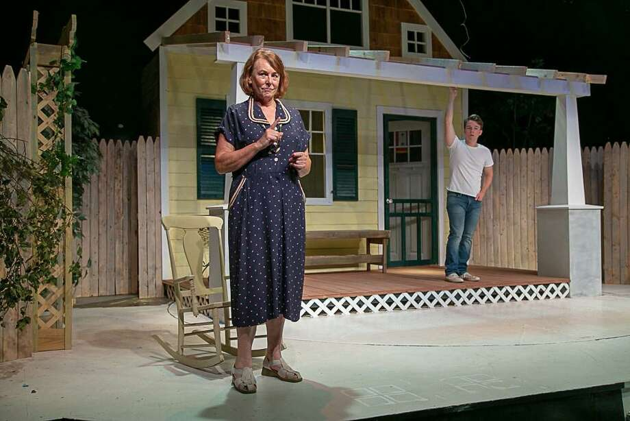 "Noel Desiato, as Kate Keller, and Tommy Ovitt, as Chris Keller, rehearse a scene for ""All My Sons,"" onstage at TheatreWorks New Milford, Sept. 21 through Oct 13. Photo: Richard Pettibone / Contributed Photo"
