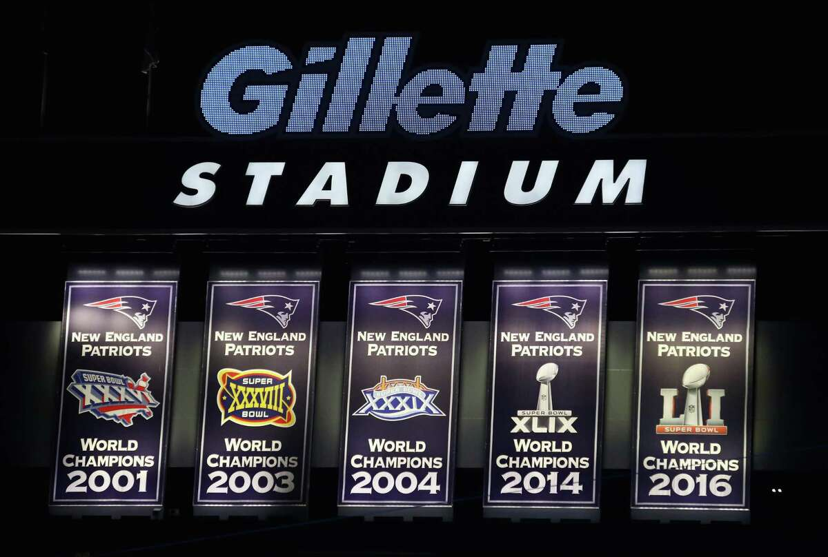 The five Super Bowl championship banners at Gillette Stadium are a conspicuos reminder of the Patriots' run of excellence.