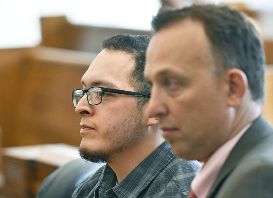Timothy Paul Hernandez, left, is arraigned in Skagit County Superior Court Thursday on a first-degree murder charge in the death of his girlfriend Vanessa Cons. Hernandez pleaded not guilty to the charge. Photo: Charles Biles / Skagit Valley Herald