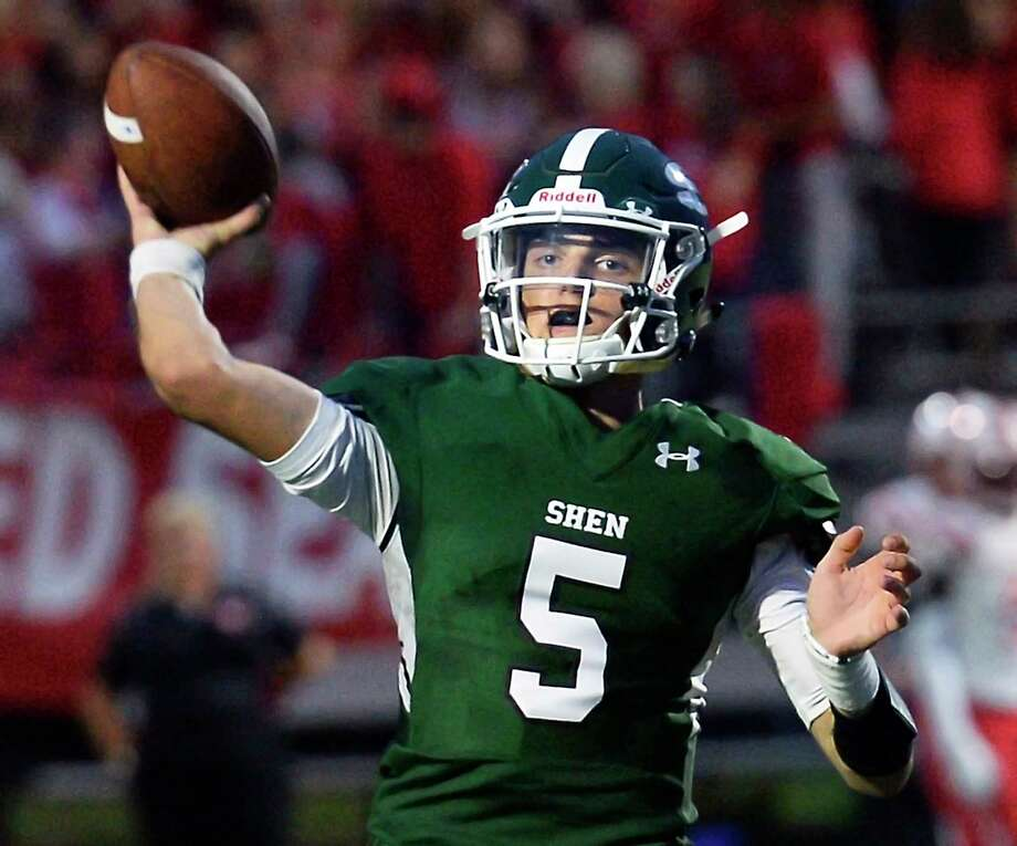 Shenendehowa QB #5 Brendan Belott fires off a pass during their home opener against Guilderland Friday August 31, 2018 in Clifton Park, NY. (John Carl D'Annibale/Times Union) Photo: John Carl D'Annibale / 20044685A