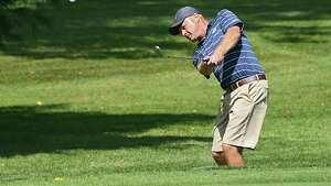 Matt Smullen of Saratoga National Golf Club chips onto the 17th green during the New York State Golf Association Mid-Amateur qualifier at Eagle Crest Golf Club on Thursday, Sept. 6, 2018 in Clifton Park, N.Y.   (Lori Van Buren/Times Union)